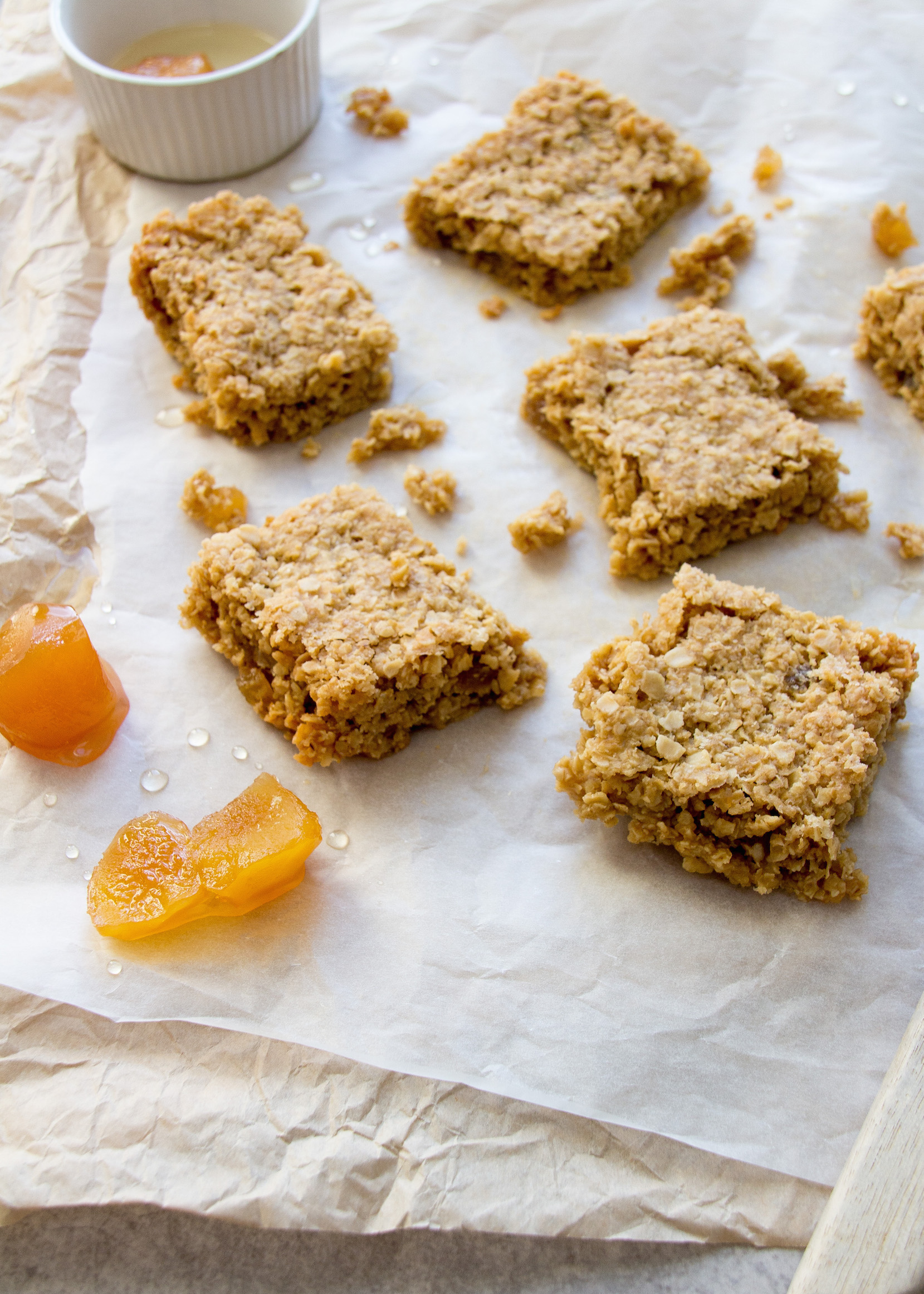Low FODMAP chewy ginger flapjacks