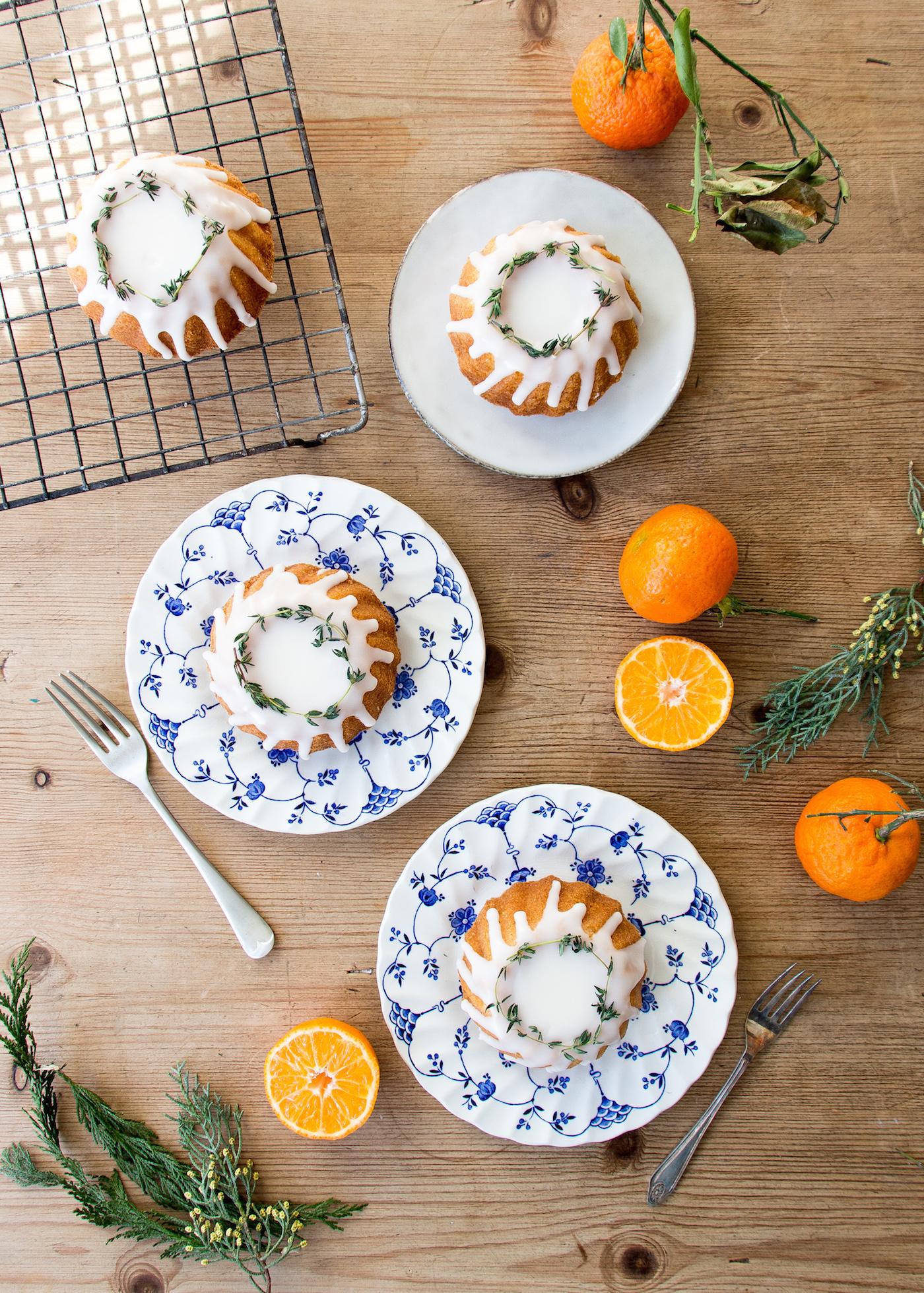 Gluten free clementine and almond mini bundt cakes