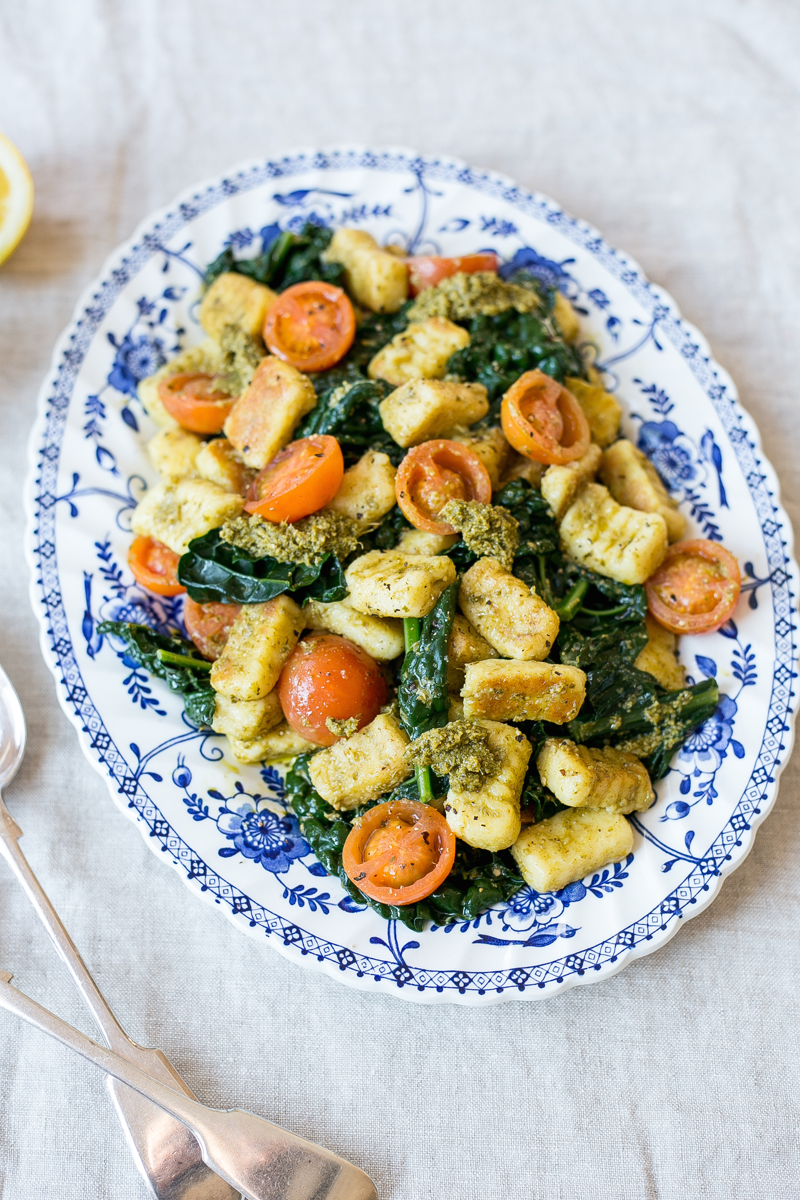 Low FODMAP Pan fried gnocchi with basil pesto