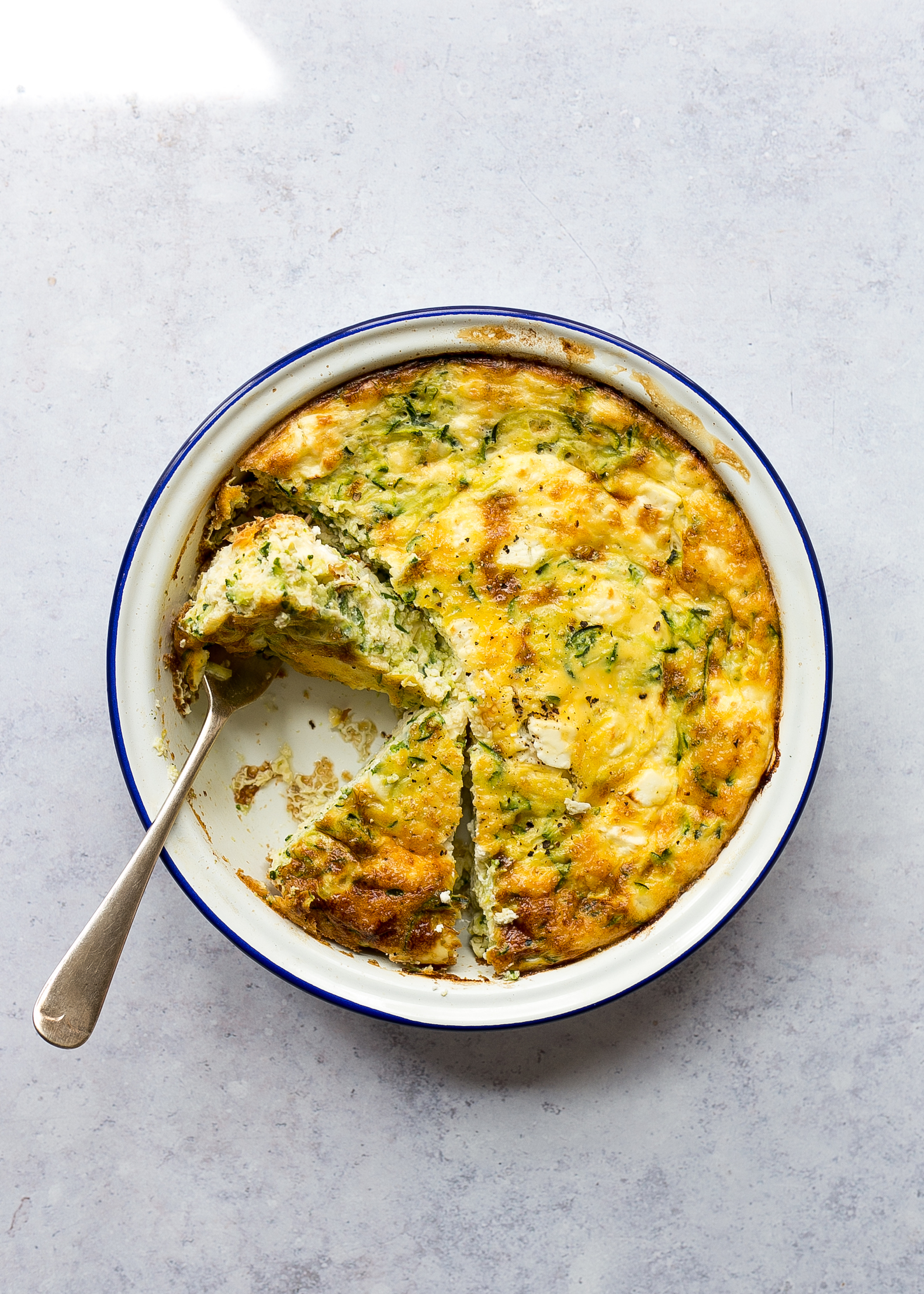 FODMAP friendly courgette and feta frittata