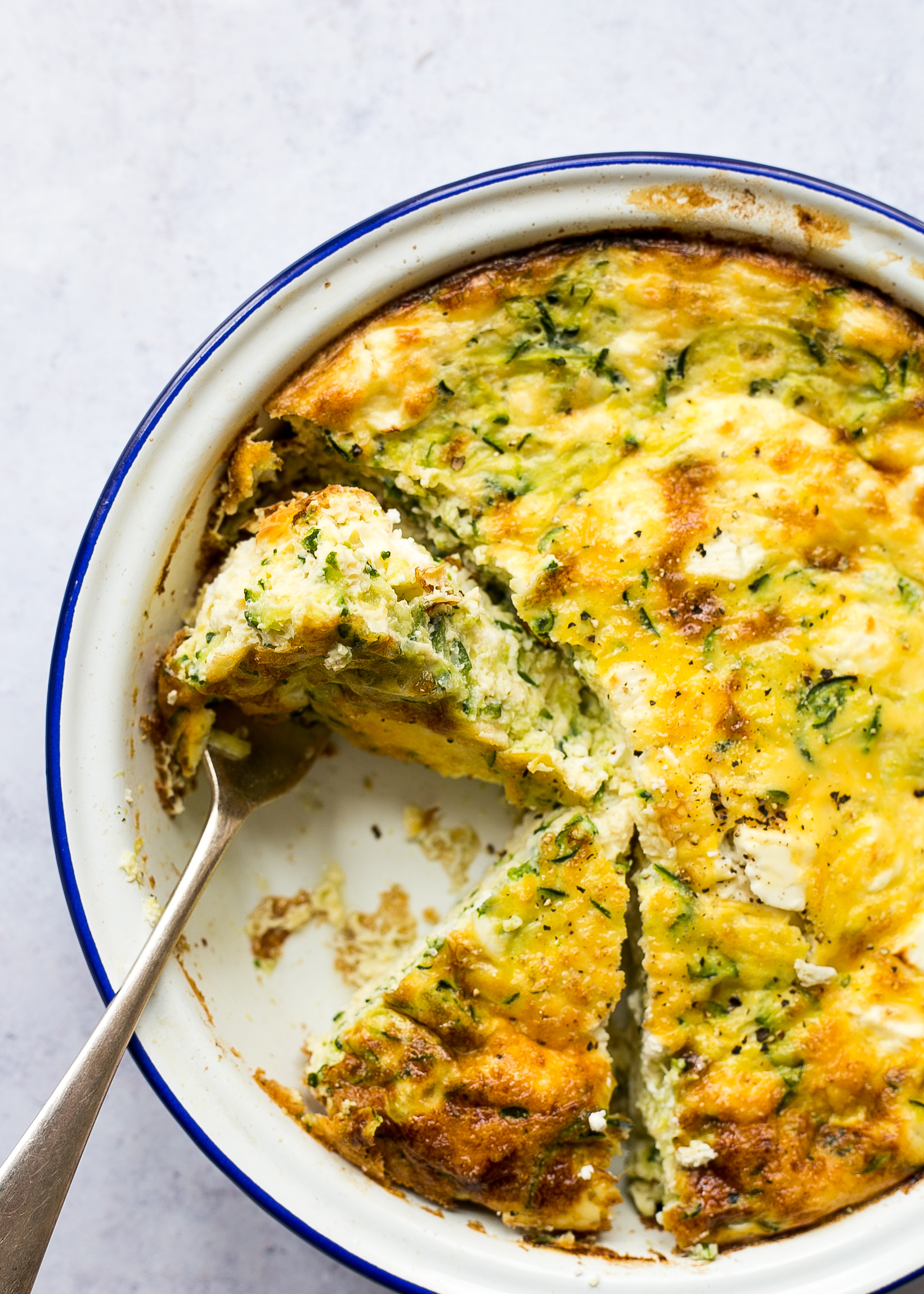 Low FODMAP courgette and feta frittata