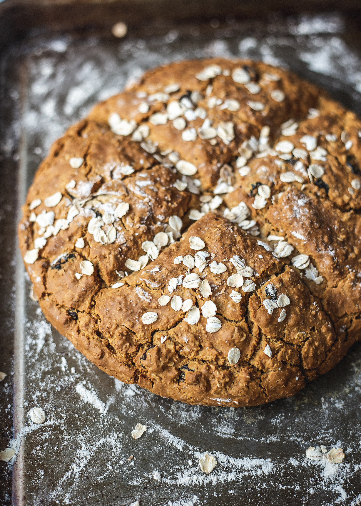 Gluten free oat, cranberry and orange soda bread close up