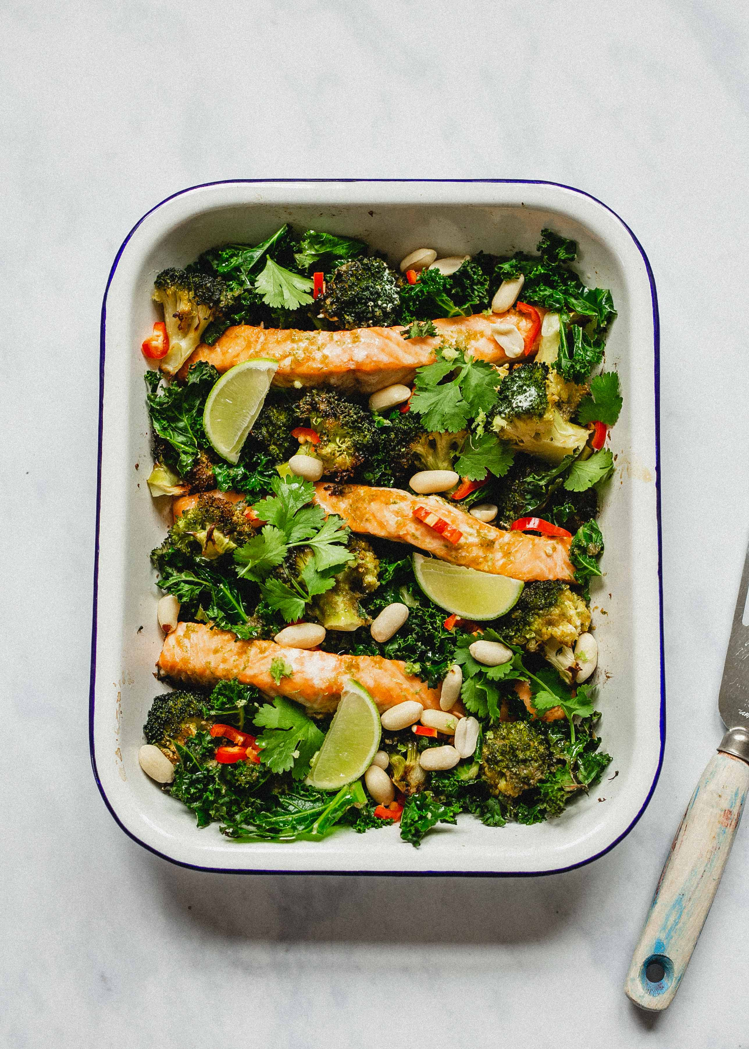 Gluten free roast salmon and broccoli traybake