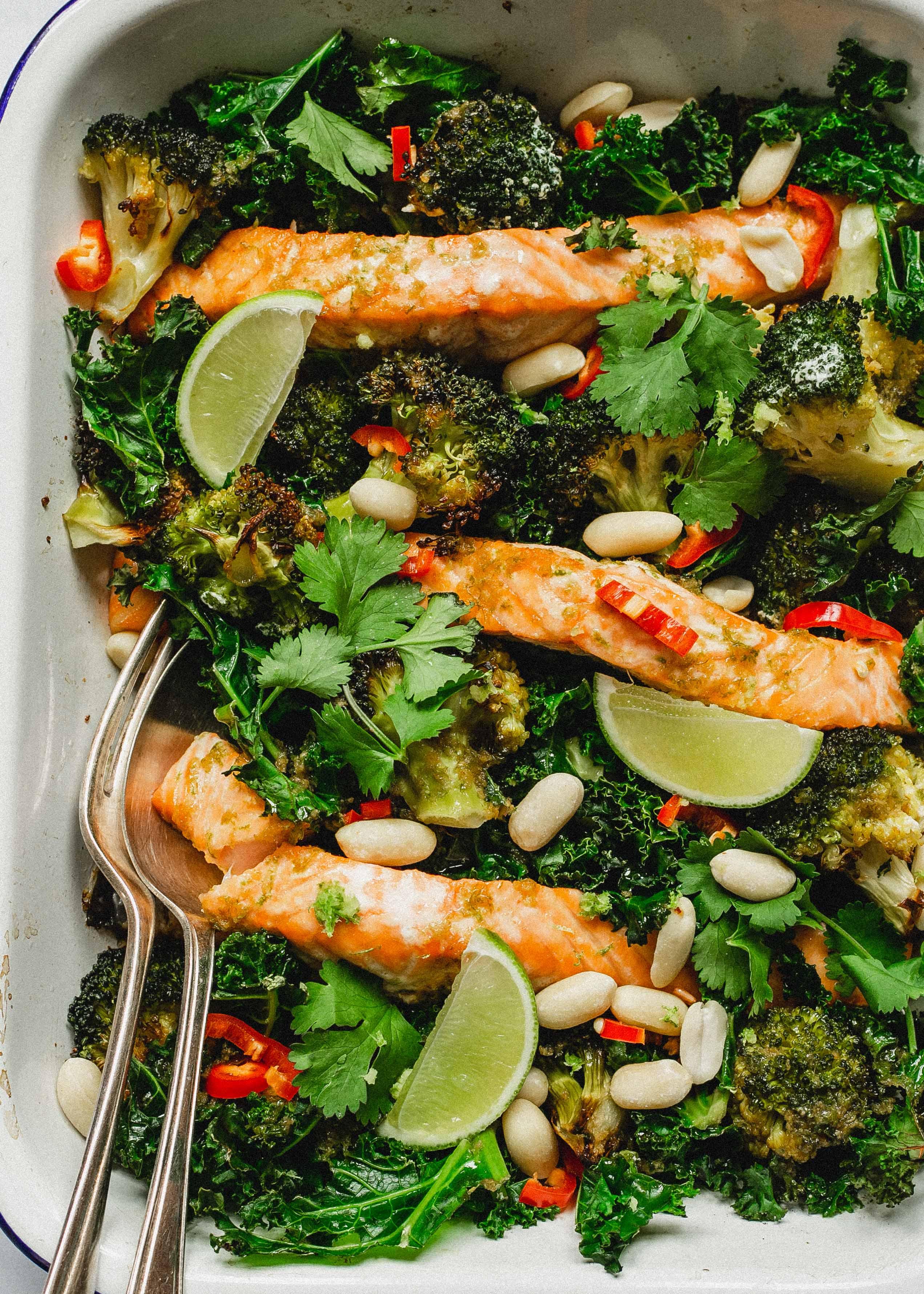 Low FODMAP roast salmon traybake with chilli and peanuts