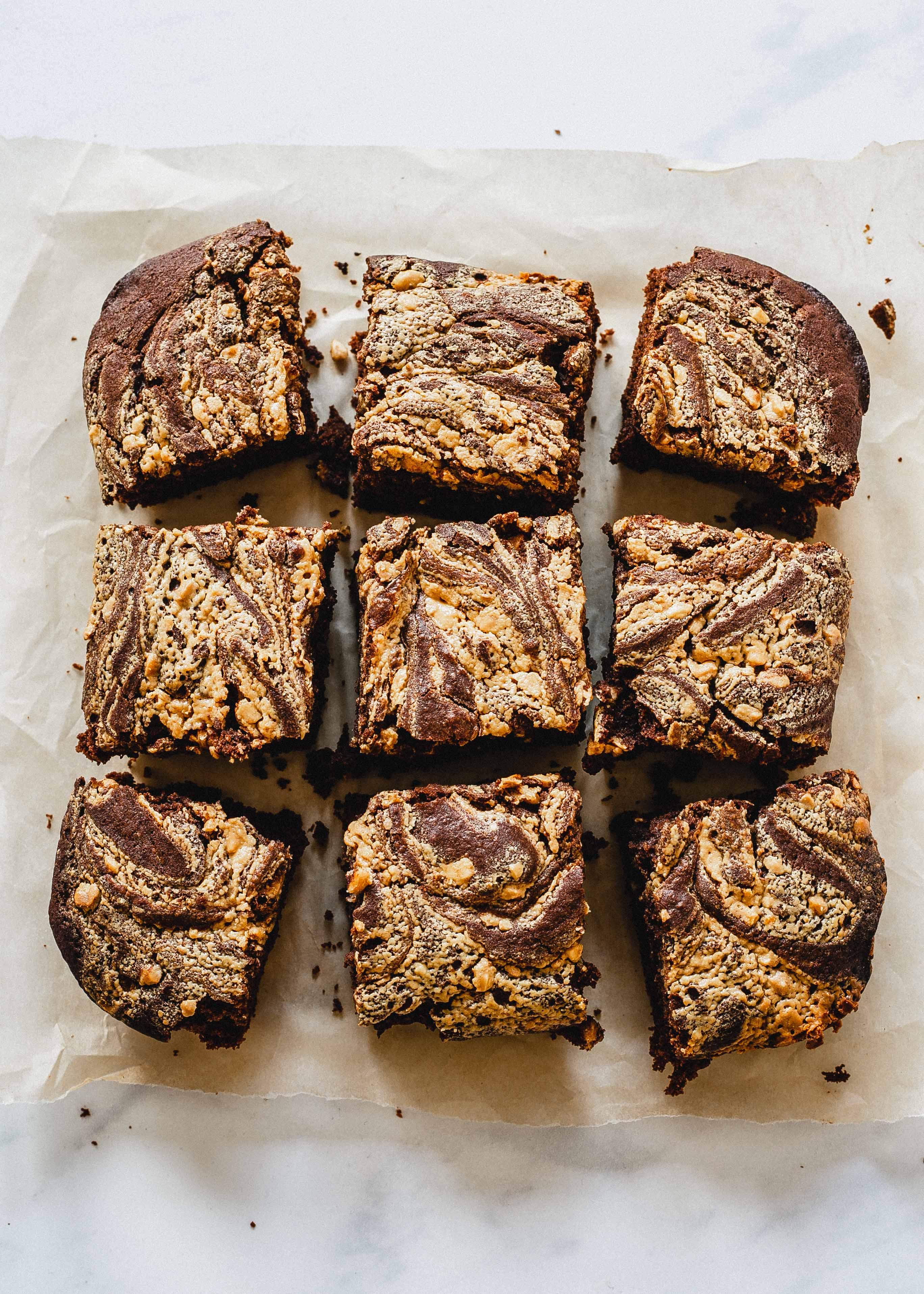 Vegan Low FODMAP peanut butter brownies