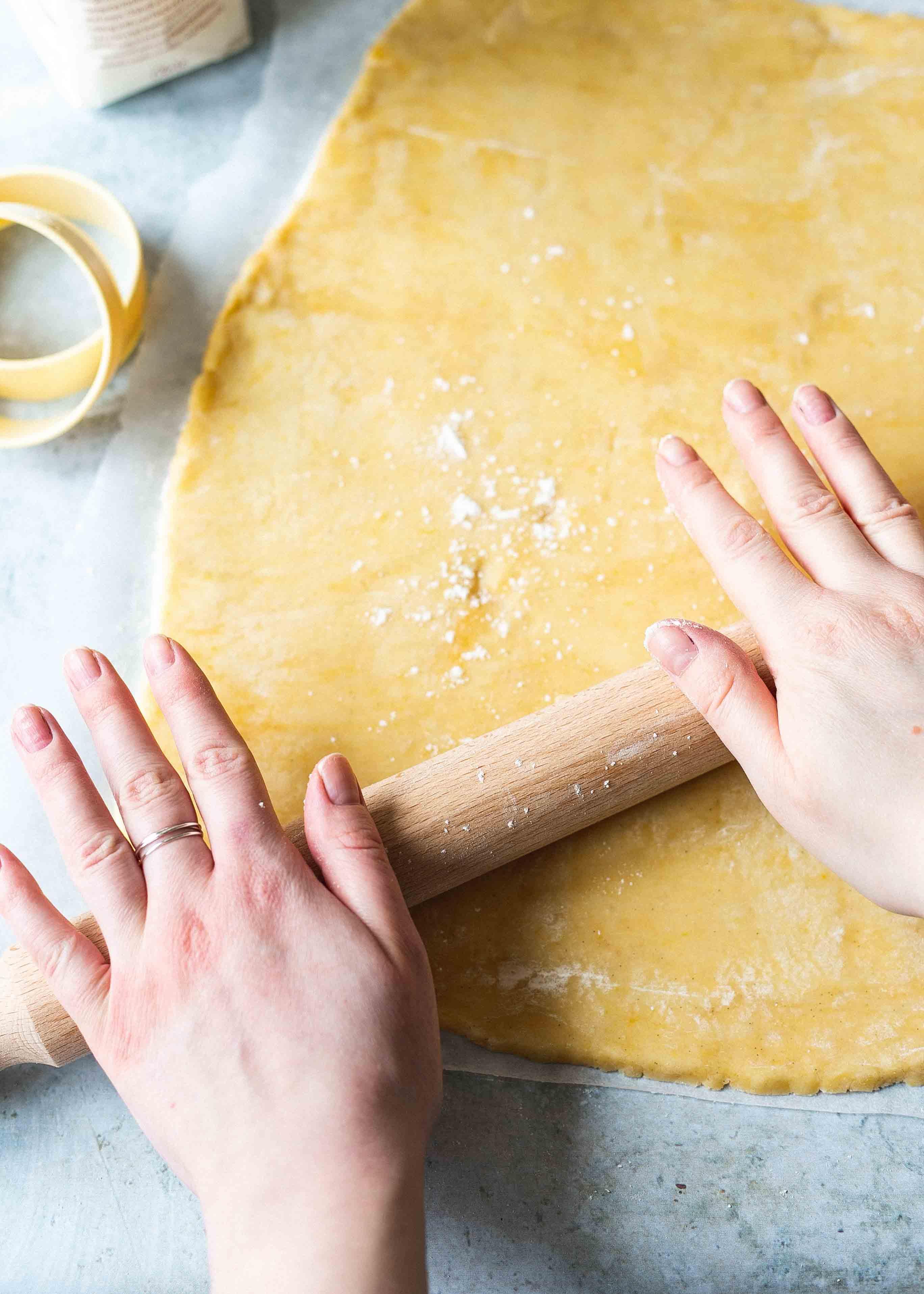 Rolling gluten free shortbread dough