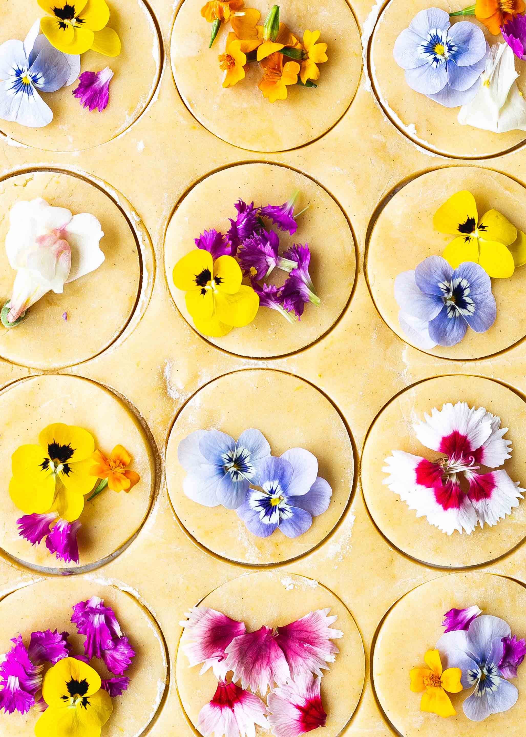 Edible flower gluten free shortbread cookies