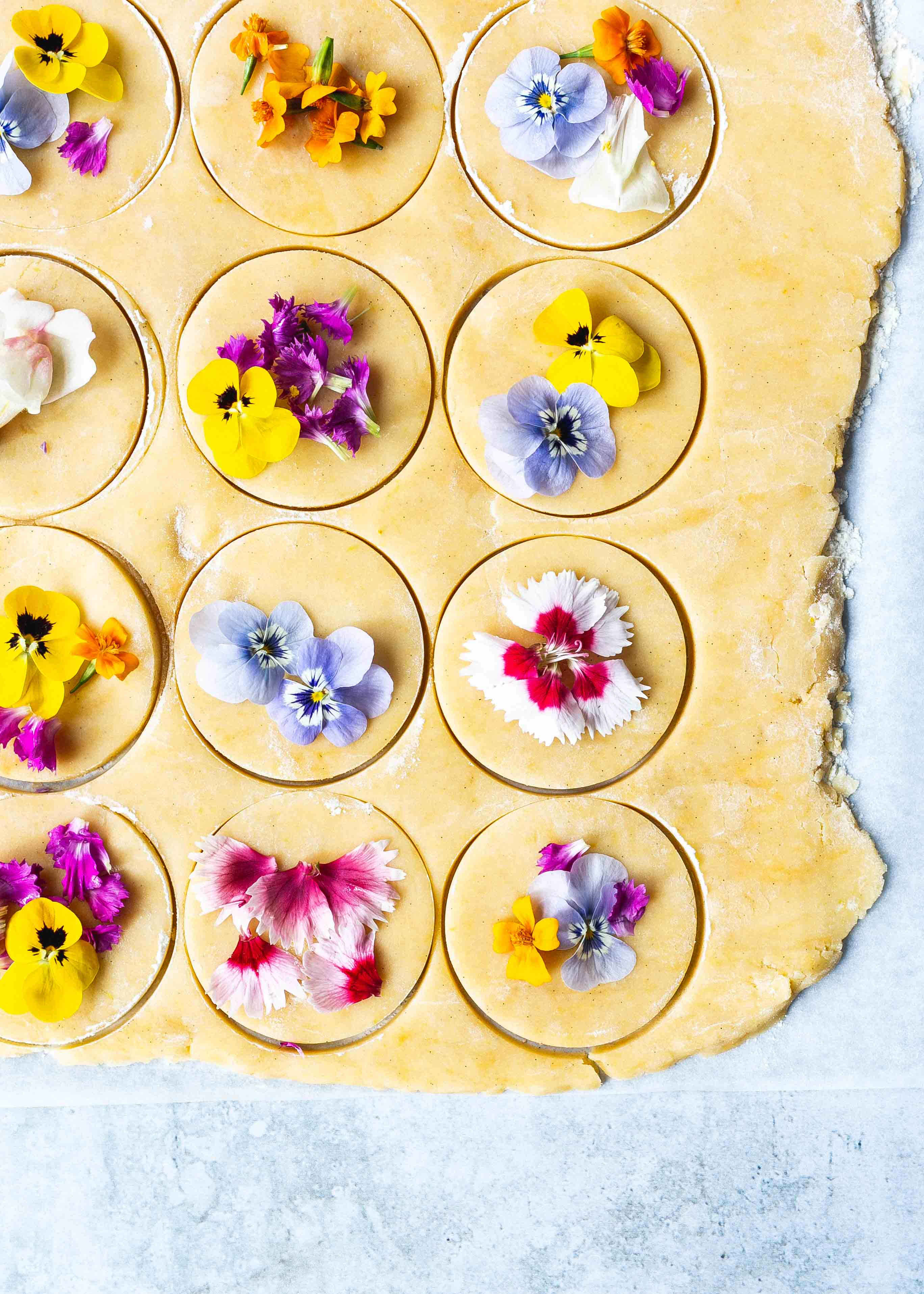 Cookie cut Edible flower low FODMAP shortbread cookies