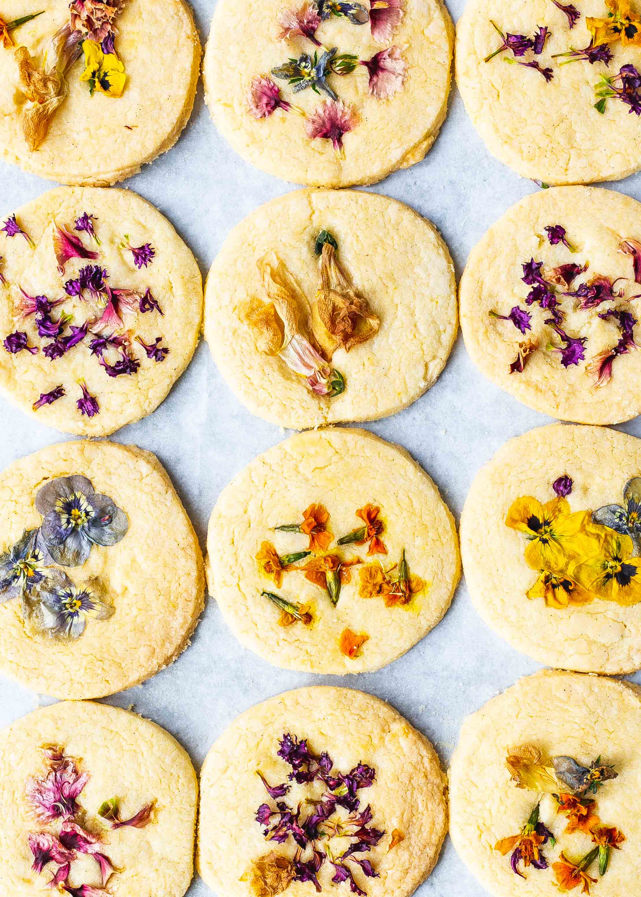 Edible flower FODMAP friendly shortbread cookies