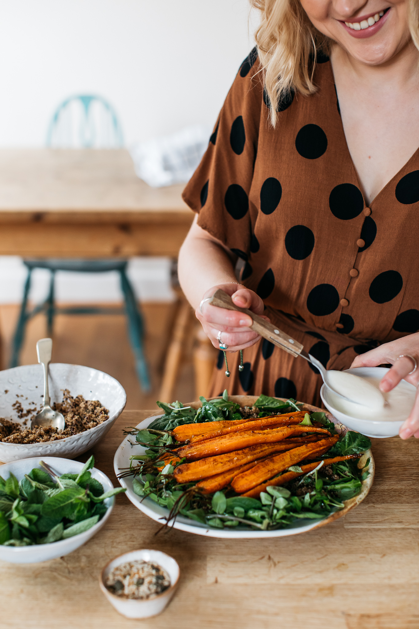 Low FODMAP roasted carrot salad with quinoa and yogurt dressing