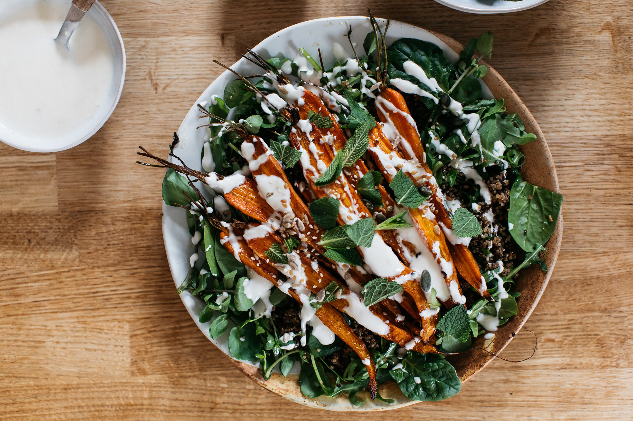 FODMAP friendly roasted carrot salad with quinoa and yogurt dressing