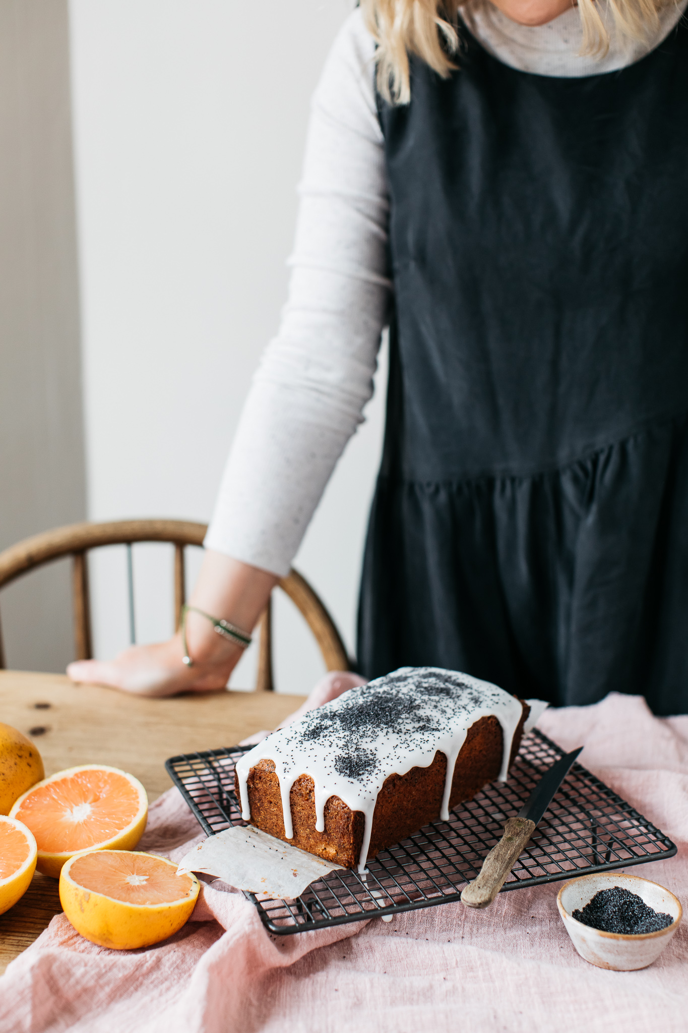 FODMAP friendly gluten free grapefruit and poppy seed loaf cake