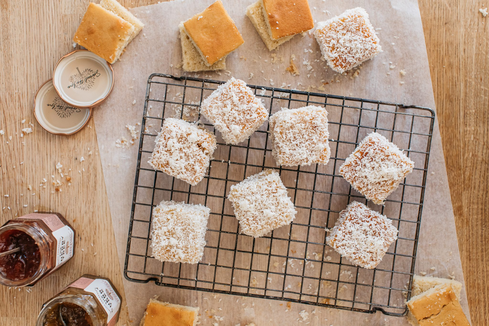 Low FODMAP jam lamingtons