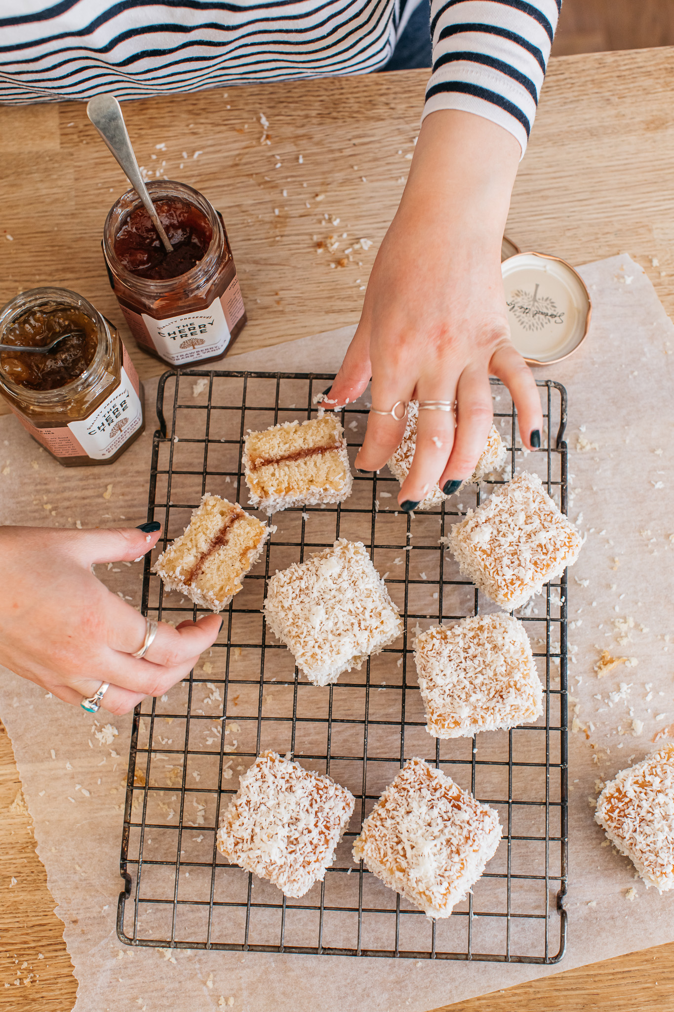 Low FODMAP strawberry and gooseberry lamingtons