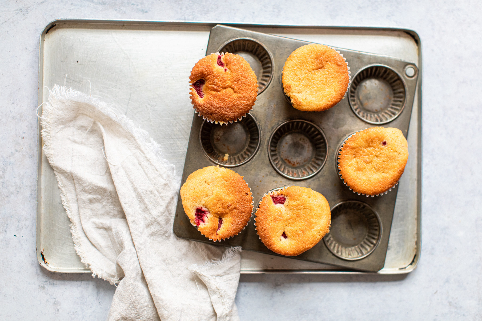 Tray of low FODMAP raspberry muffins