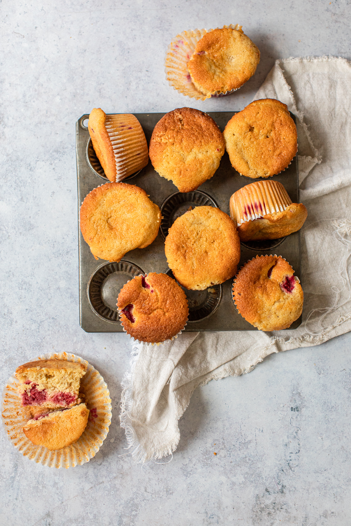 Low FODMAP golden raspberry muffin