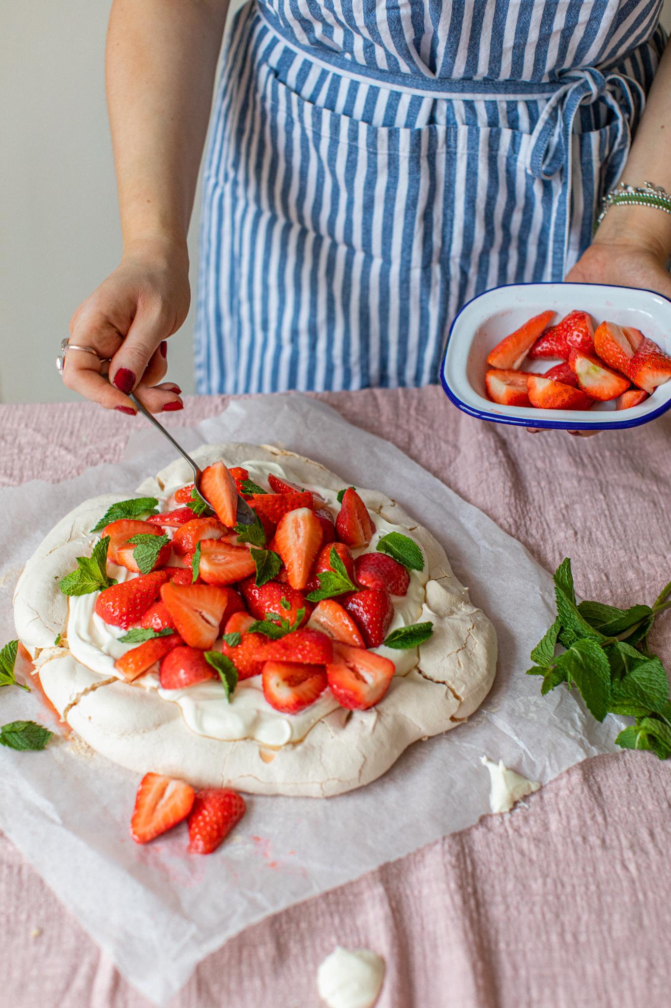 Low FODMAP yogurt, mint, elderflower, strawberry cream pavlova