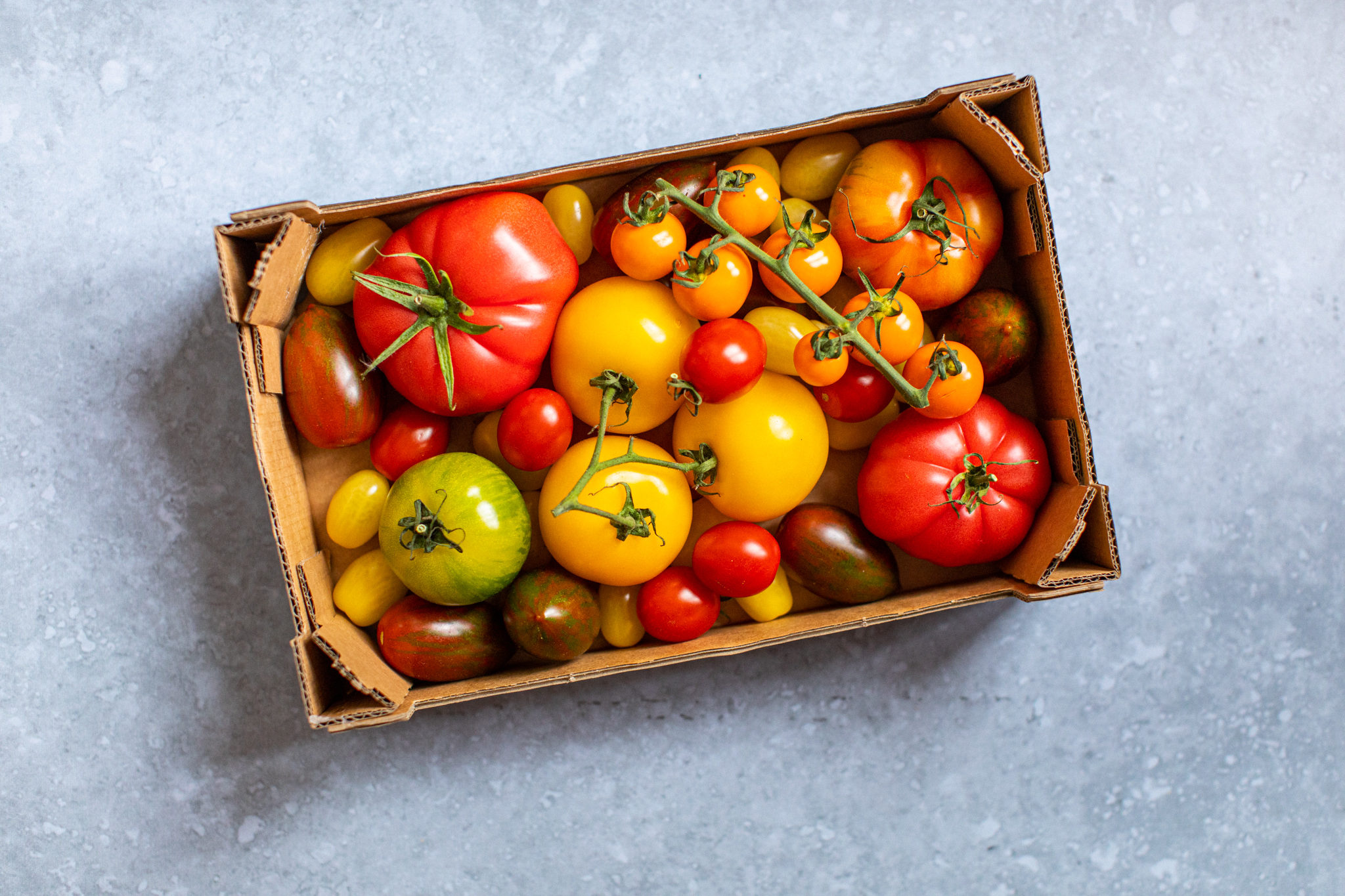 Low FODMAP crate of tomatoes