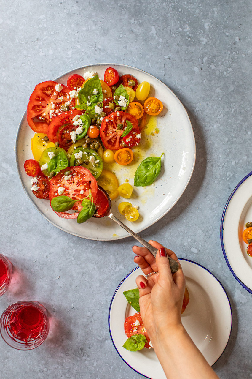 Low FODMAP heirloom tomato, basil salad