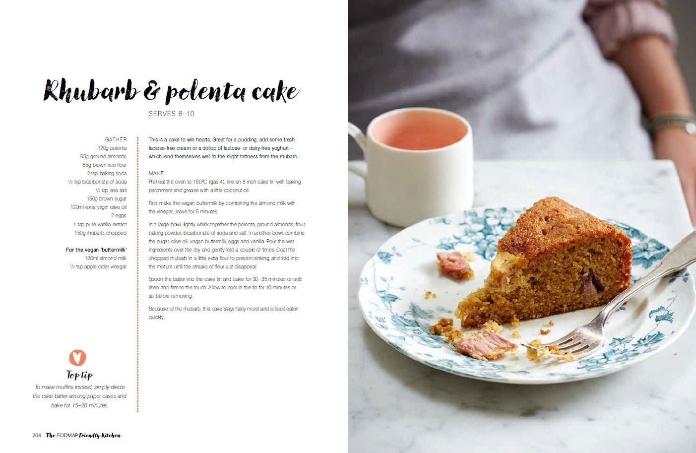 The FODMAP Friendly Kitchen rhubarb and polenta cake