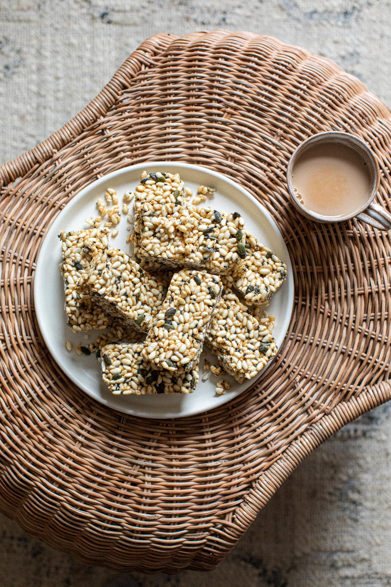 Low FODMAP peanut butter rice crispy bars