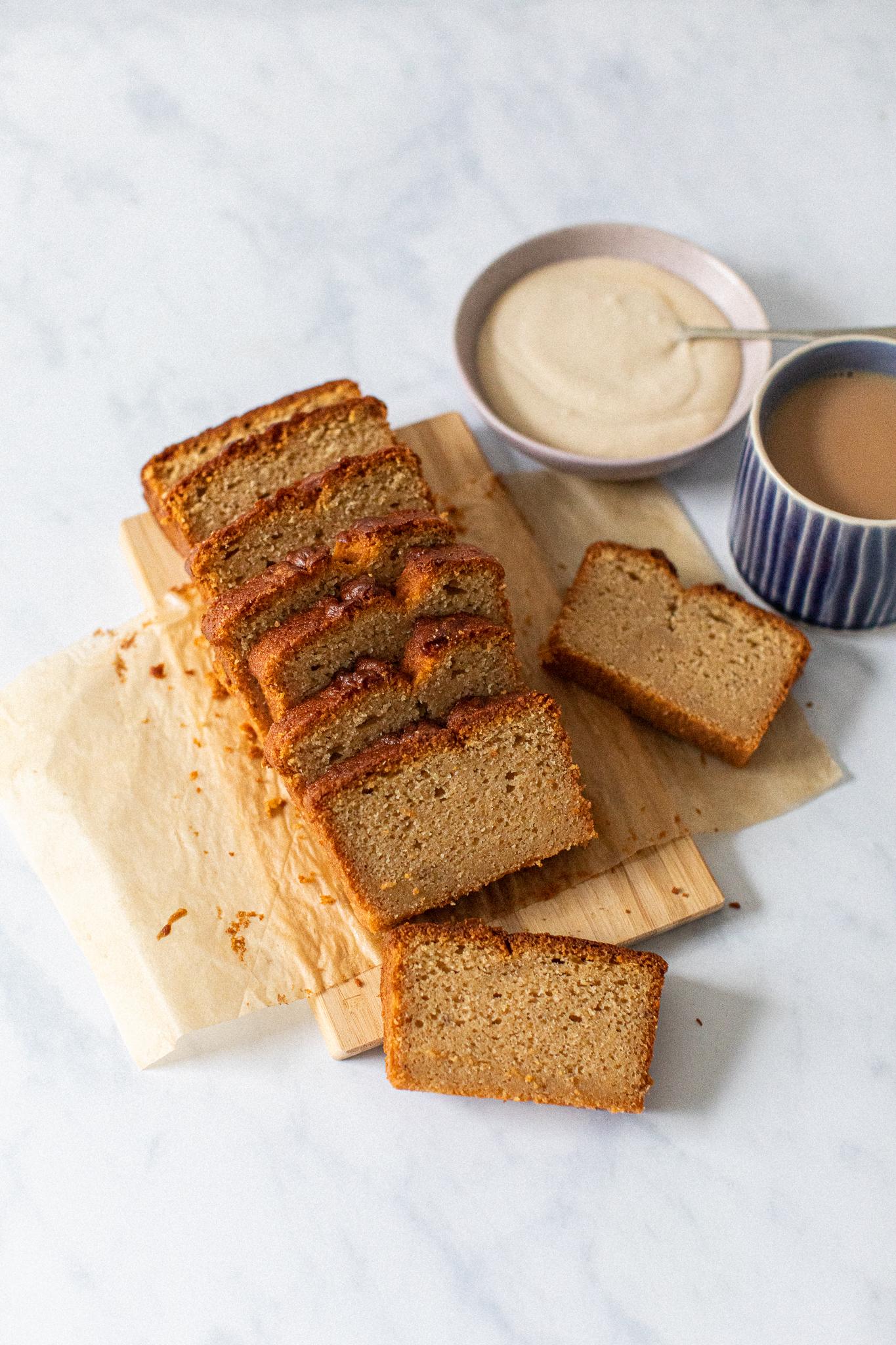 Sliced low FODMAP gluten free coffee and cardamom loaf cake
