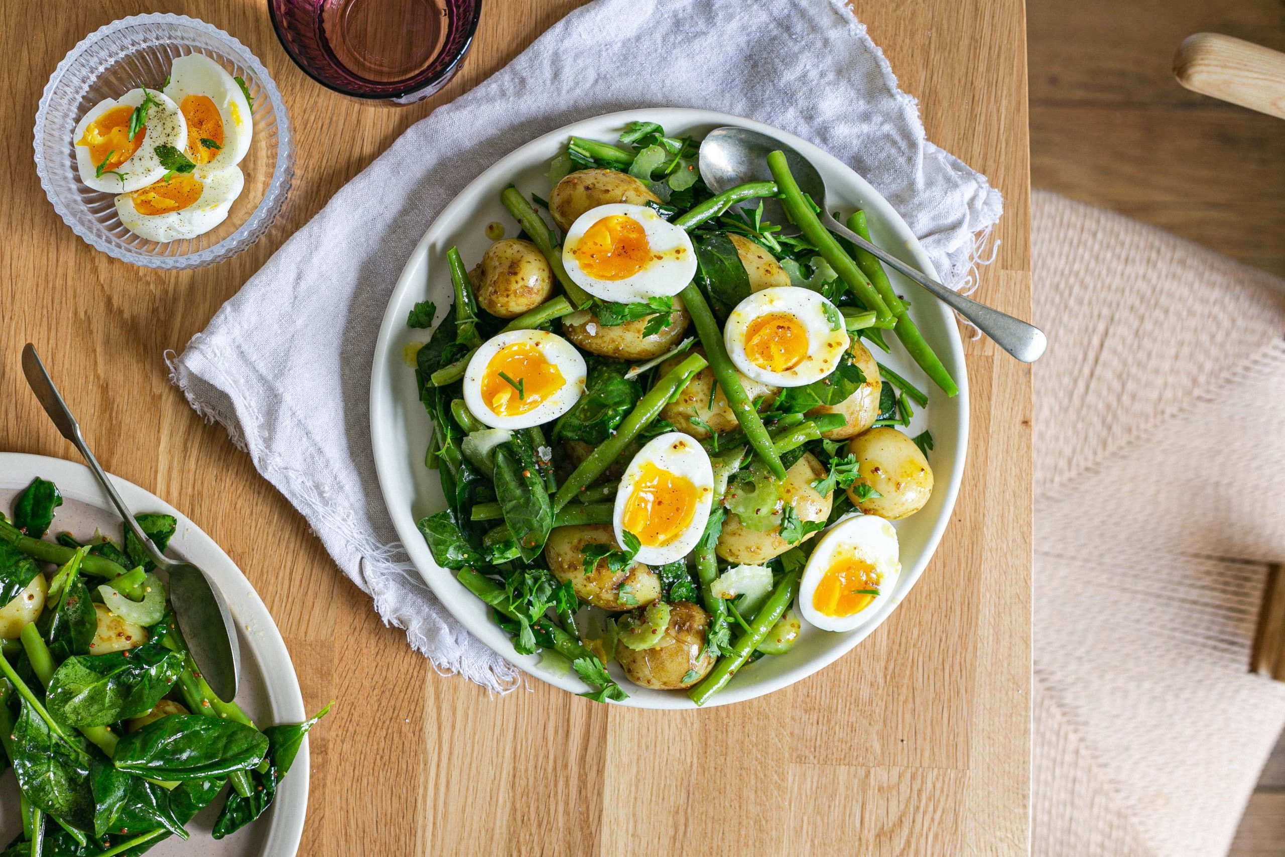 Low FODMAP potato egg and green bean salad
