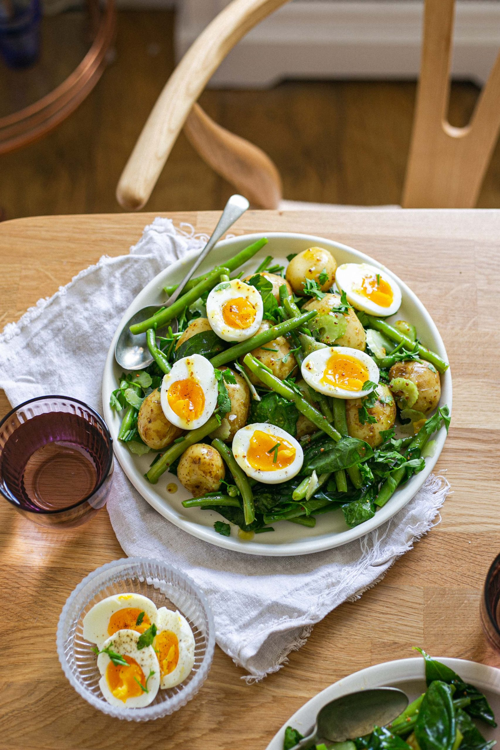 Herby mustard low FODMAP potato egg and green bean spring salad