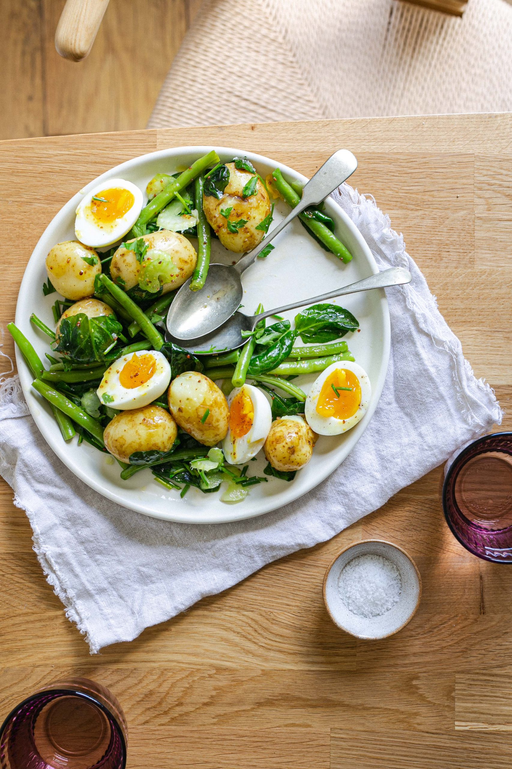Low FODMAP spring salad with potato egg and green beans mustard dressing
