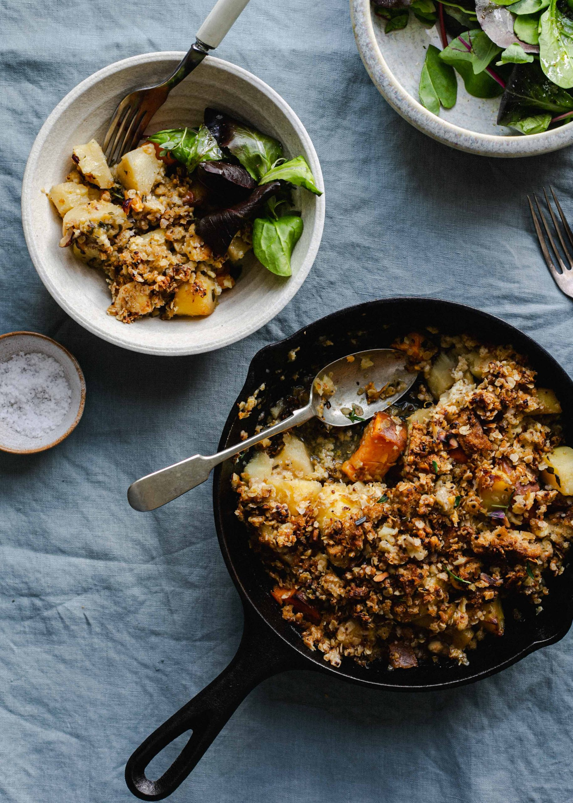 Low FODMAP crumble sweet potato and parsnip