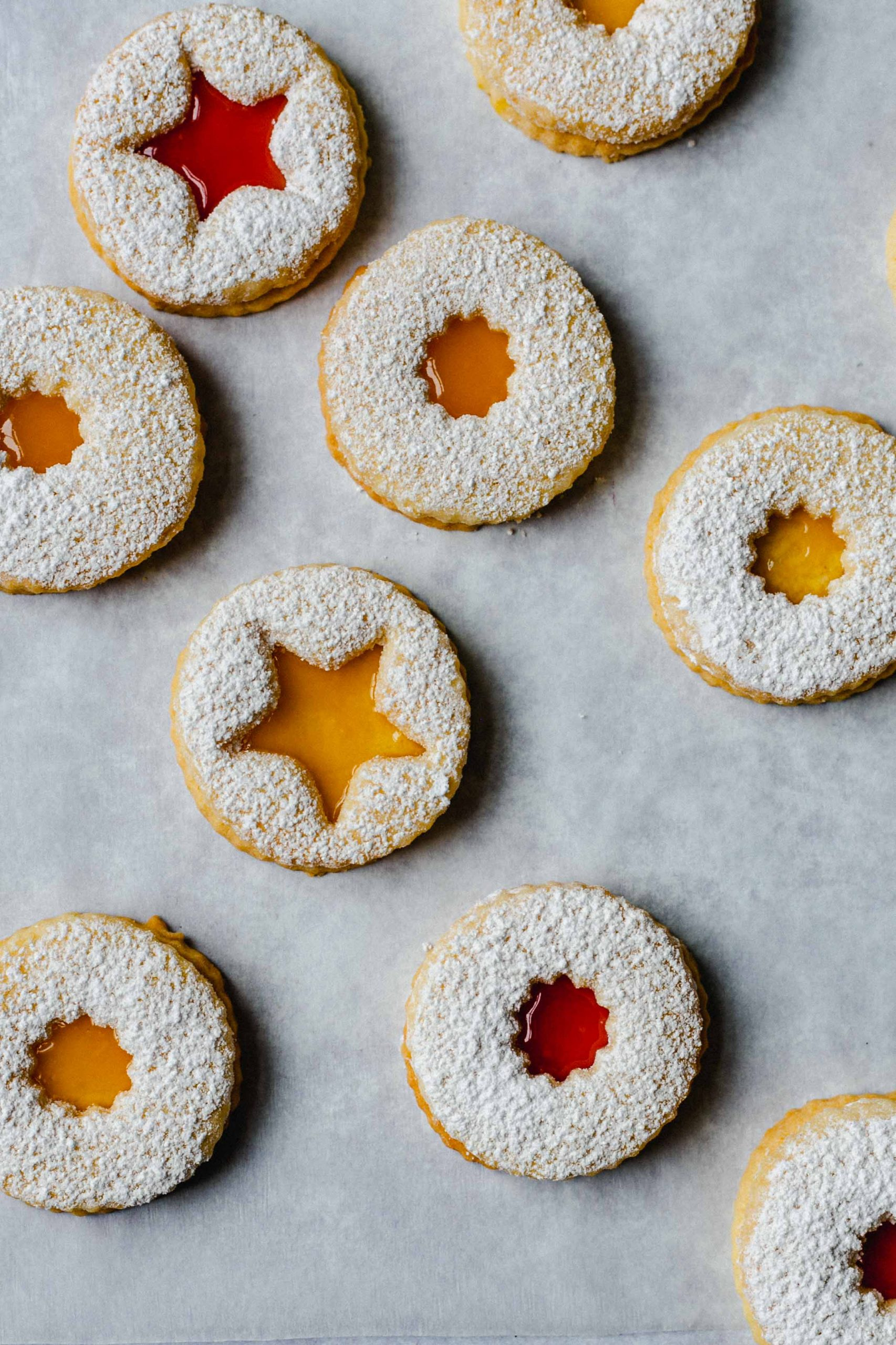 Gluten free Linzer cookies with curd Low FODMAP close up