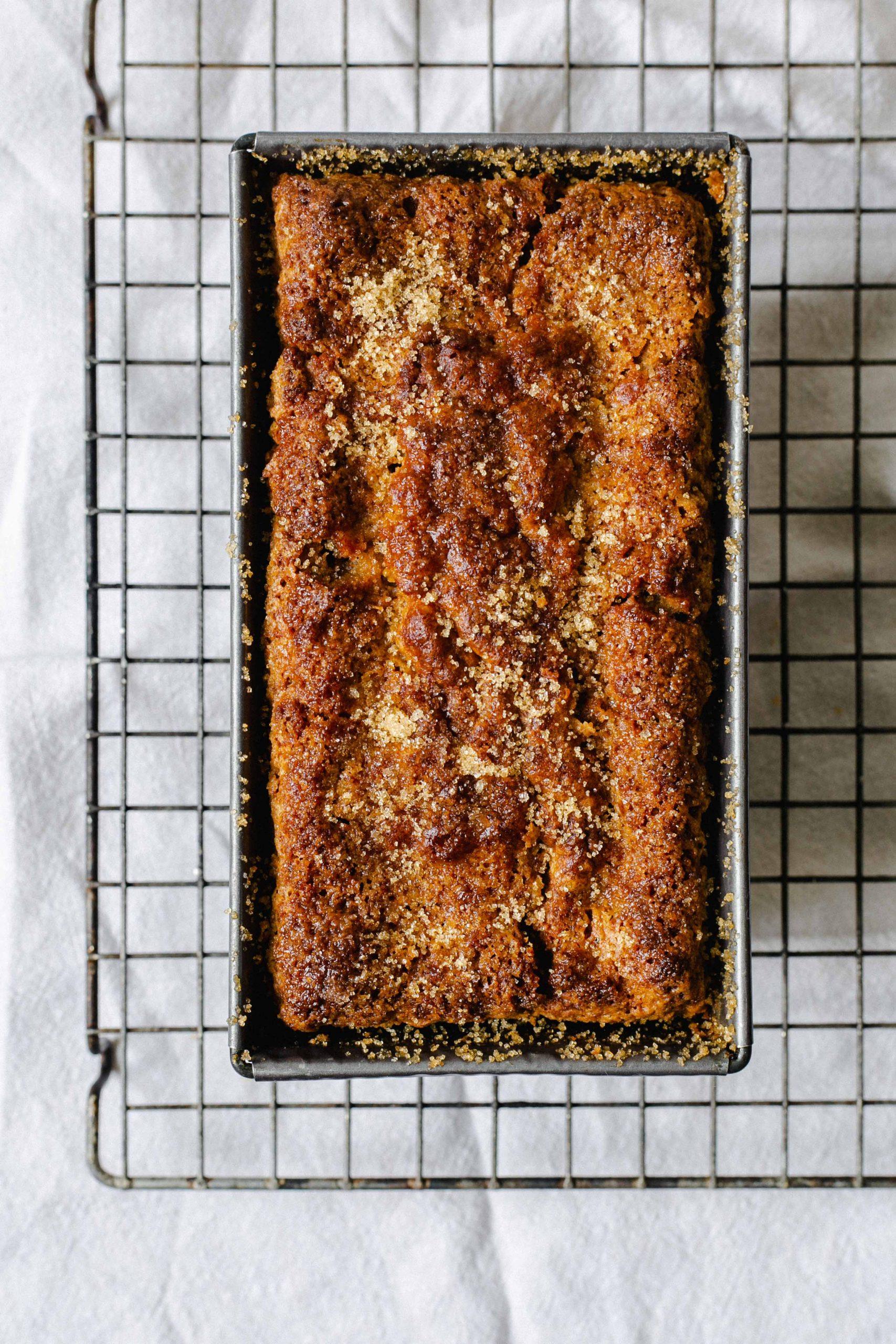 Top down gluten free low FODMAP banana bread