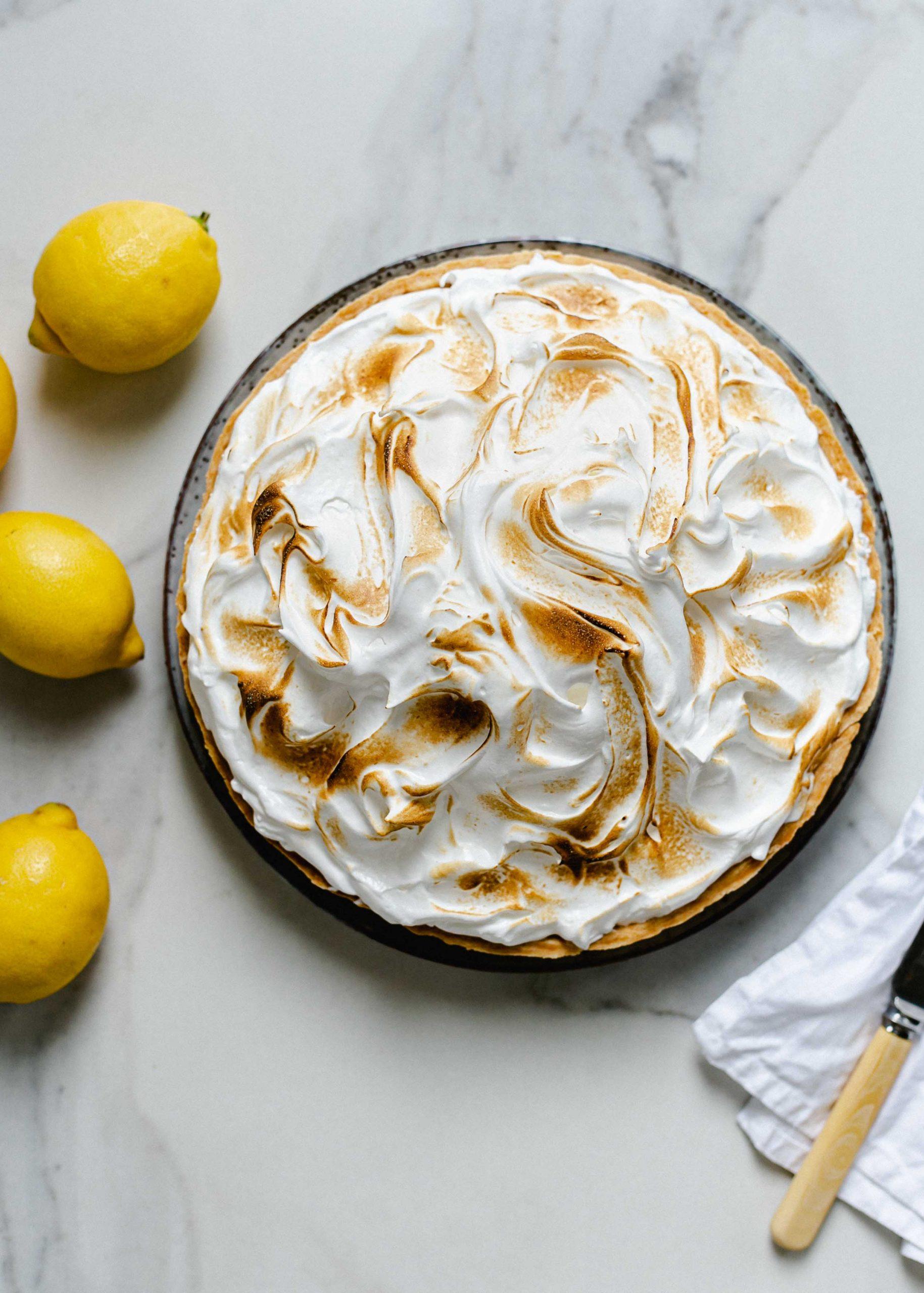 Top down gluten free lemon meringue pie